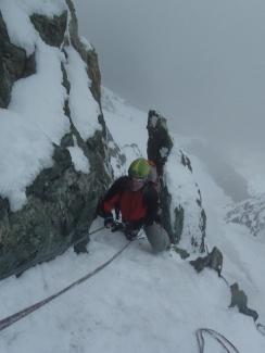 Les câbles après les rappels du Grand Pic, ambiance Face Nord!